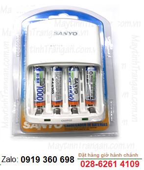 Bộ sạc pin AAA Sanyo NC-MQN06U kèm sẳn 4 pin sạc Sanyo AAA1000mAh _Made in Japan