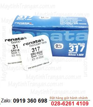 Renata SR516SW-317; Pin đồng hồ đeo tay 1.55v Silver Oxide Renata SR516SW-317