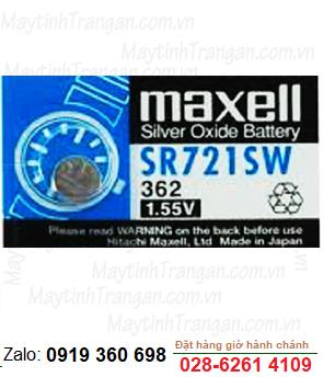 Maxell SR721SW; Pin đồng hồ 1.55v Maxell SR721SW silver oxide chính hãng Maxell Nhật